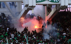 Fans in Greece rioting during a soccer game in 2012