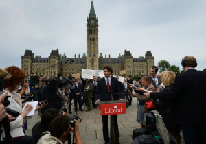 Justin Trudeau being protested by the PMO (Photo National Post)