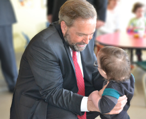 NDP Leader Thomas Mulcair with election prop