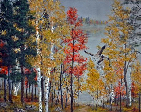 Canada Geese in Autumn (oil on canvas)