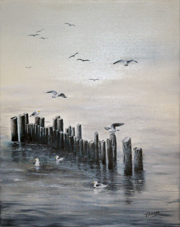 Gulls - oil on canvas