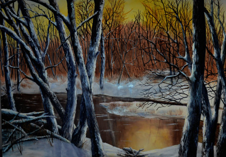 Winter Sunset - oil on canvas